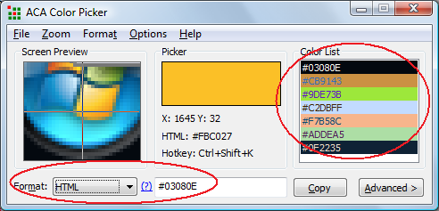 ACA Color Picker Supports for HTML Color Mode
