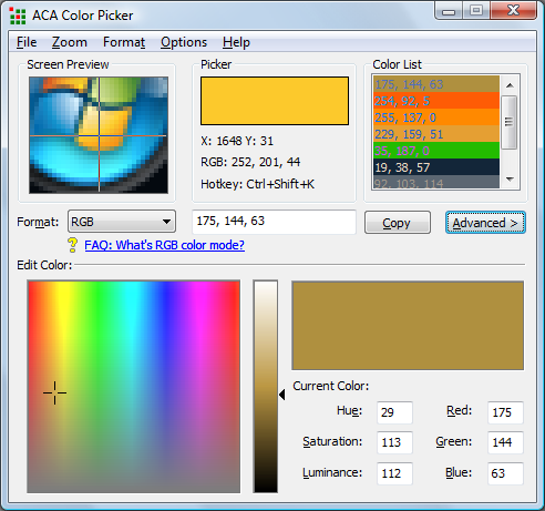 Click to view ACA Color Picker 2.01 screenshot