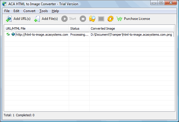 Convert HTML to picture: The convert task will start, the Status column shows Processing