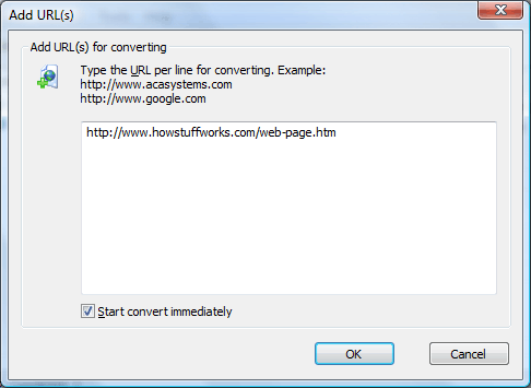 Convert web page to tiff: Type the URL for converting in the edit box