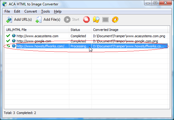 Convert web page to tiff: The convert task will start