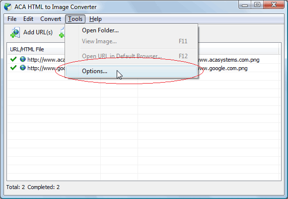 Convert web page to tiff: change the image format to JPEG, click the menu: Tools > Options