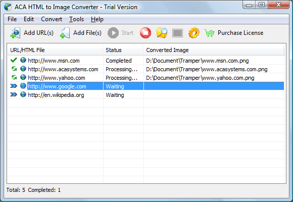screenshot: The main window of ACA HTML to Image Converter