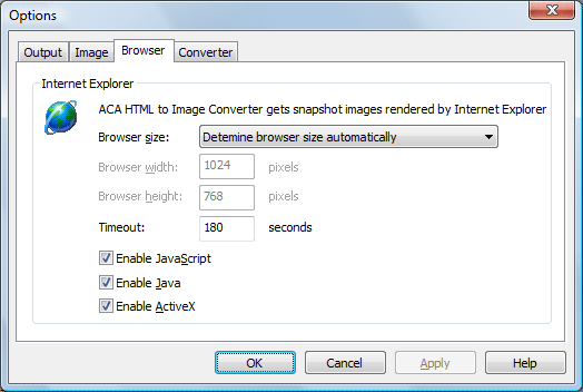 ACA HTML to Image Converter Screenshot: Browser option dialog