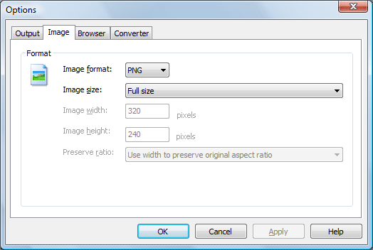 ACA HTML to Image Converter Screenshot: Image option dialog