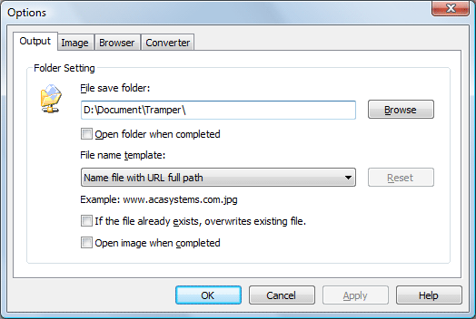 ACA HTML to Image Converter Screenshot: Output option dialog