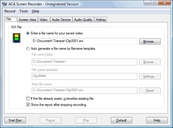 ACA Screen Recorder screenshot: screen recorder, screen record, screen recording, screen recorder software, download screen recorder, video capture, screencam, AVI maker, free screen recorder, free download, computer screen recorder, screenshot, capture video, screenshot recorder