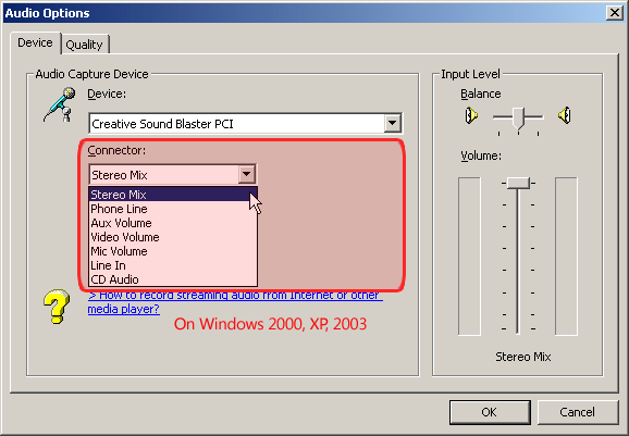Screenshot: Device list of the sound card on Windows 2000, XP, 2003