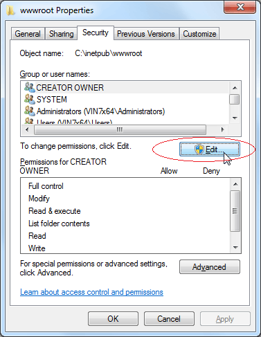 Set Write Permission: Click Security tab, then click Edit button
