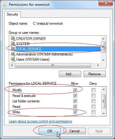 Set Write Permission: Set Modify and Write permission for LOCAL SERVICE
