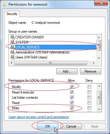Set Write Permission: Set Modify and Write permission for LOCAL SERVICE