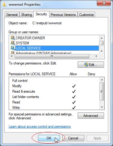 Set Write Permission: Click OK button