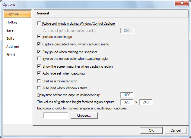 The Screenshot of ACA Capture Pro Option dialog