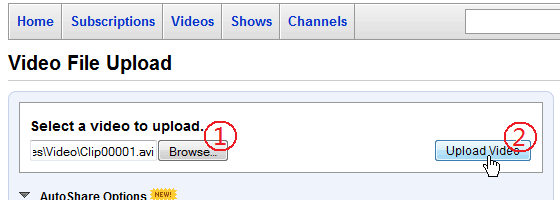 Upload video to YouTube: Click the Browse button to select the video file that recorded by ACA Screen Recorder, and then click the Upload button
