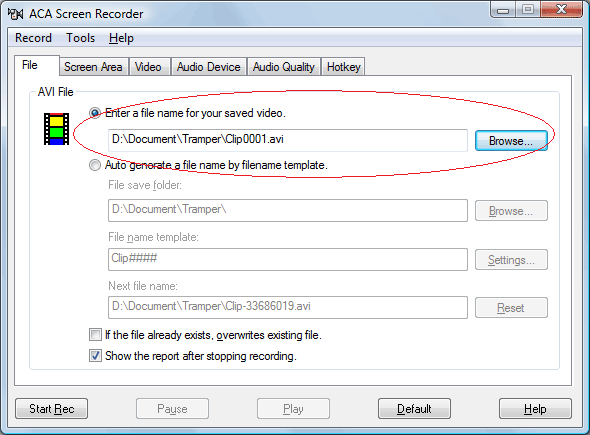How to record screen activity: Specify a filename and location