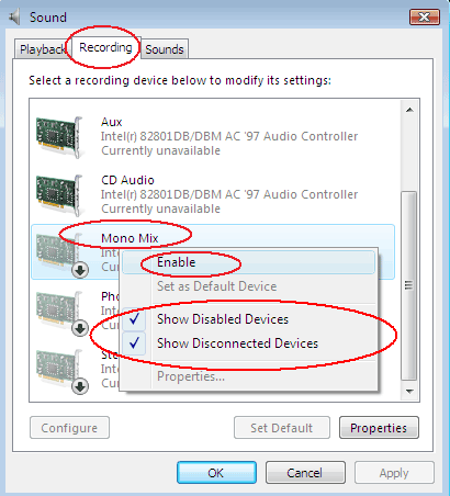 Enable Stereo Mix/Mono Mix/Wave Out Mix in Windows Vista