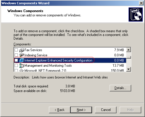Disable Internet Explorer Enhanced Security Configuration on Windows Server 2003